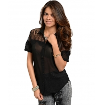 BLACK WITH LACE BLOUSE