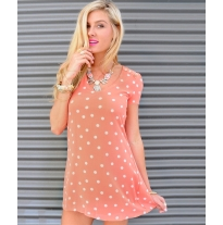 PEACH IVORY POLKA DOTS DRESS