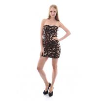 BLACK GOLD BRONZE STRAPLESS DRESS WITH SEQUINS AND BACK ZIPPER