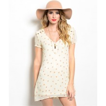 IVORY TAN POLKA DOTS DRESS
