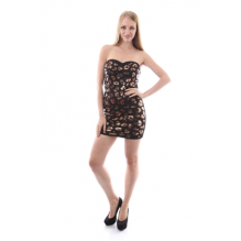 BLACK GOLD BRONZE STRAPLESS DRESS